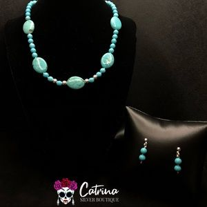 925 Sterling Silver & Turquoise Necklace Set